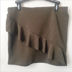 Zara Trafaluc Olive Green Mini Skirt Ruffle Detail